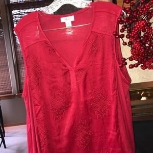 Style & Co Split Neck Embroidered Top NWOT